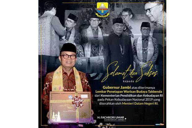 Gubernur Jambi Fachrori Terima Lembar Penetapan Warisan Budaya Takbenda Jambi