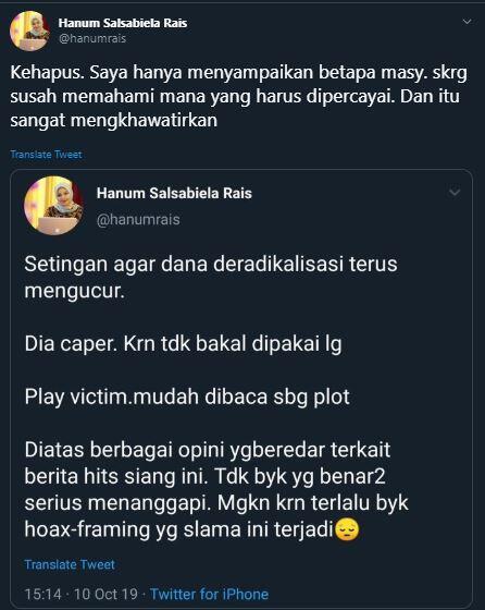 Sebut Penusukan Wiranto Rekayasa, Hanum Rais Jadi Trending Topic