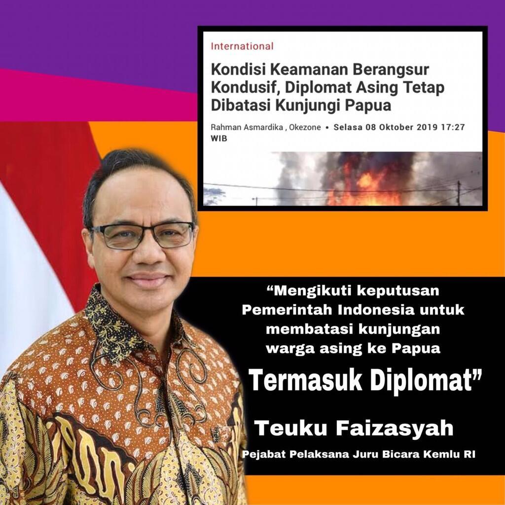Pulihkan Kondisi, Pemerintah RI Batasi Kunjungan Diplomat Asing Ke Papua