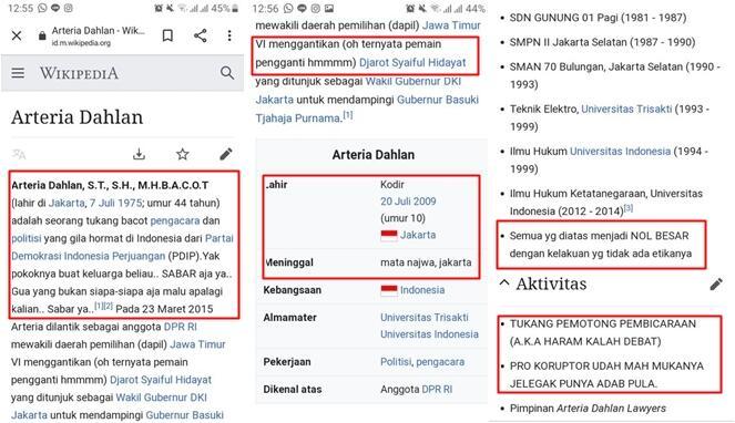 Geram Atas Sikapnya Warganet Mengubah Tampilan Wikipedia Arteria Dahlan, Pantaskah?