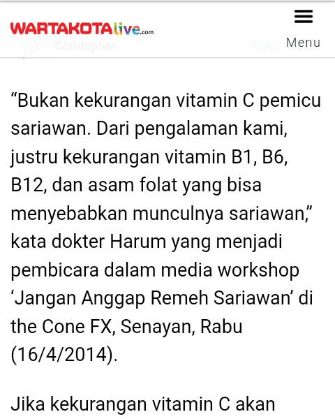 Faktor Penyebab Sariawan, Anggapan Kurang Vitamin C Ternyata Salah Besar !