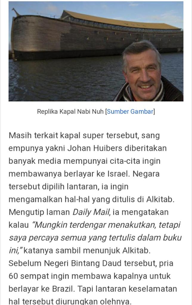 Pria Ini Menghabiskan Banyak Uang Untuk Sebuah Replika Kapal Nabi Nuh, Benarkah?
