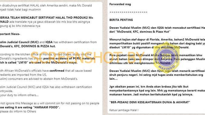 Benarkah McDonald's, KFC, Dominos, dan Pizza Hut Dicabut Sertifikasi Halalnya?