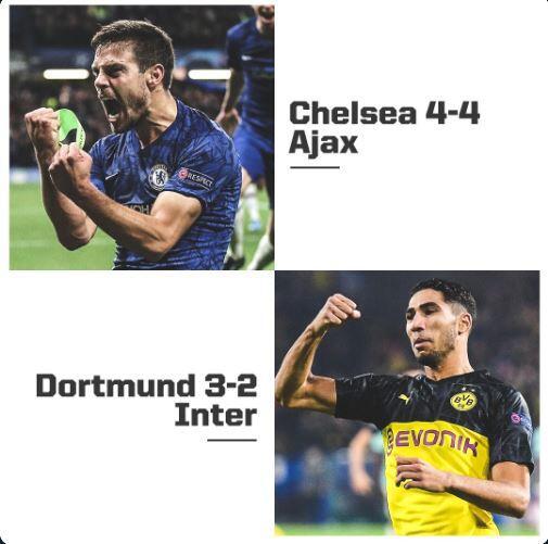 Hasil Lengkap Liga Champion Penuh Drama: Chelsea vs Ajax 4-4, Dortmund vs Inter 3-2