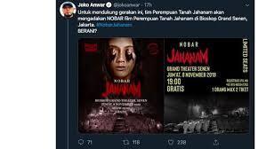 Nobar Film Demit Joko Anwar Di Bioskop Tua, 5 Menit Tiket Ludes!