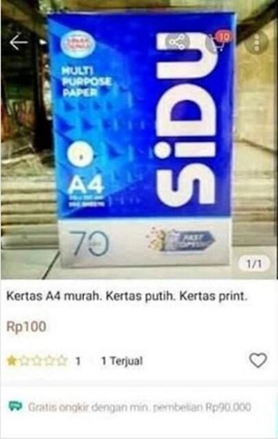 Netizen Ngamuk, Setelah Beli Online Kertas A4 1 Rim Harga Rp 100 Cuma Dapat Selembar