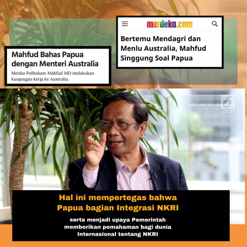 Tegaskan Kedaulatan RI atas Papua, Menko Polhukam Temui Mendagri dan Menlu Australia