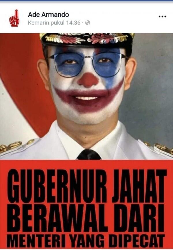 Diperiksa Soal Meme Joker Anies, Ade Armando Bawa Bukti Screenshot