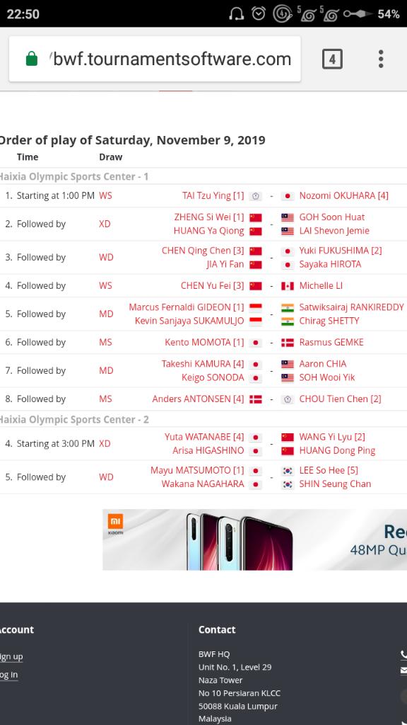 Jadwal Pertandingan Fuzhou China Open 2019
