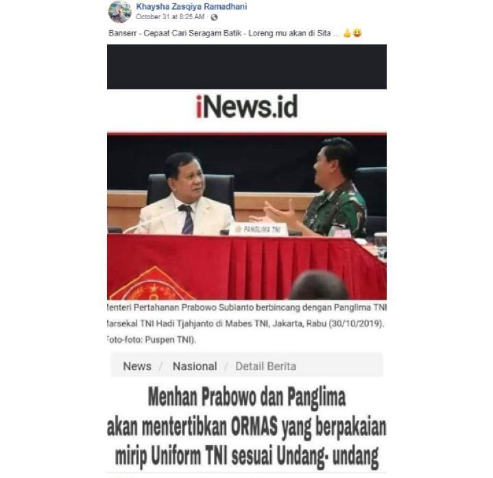 Menhan Prabowo dan Panglima TNI Bakal Tertibkan Seragam Banser?