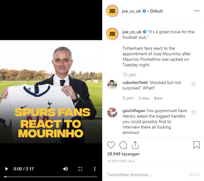 Yuk Intip Reaksi Fans Tottenham tentang Pelatih Barunya Yaitu Mourinho