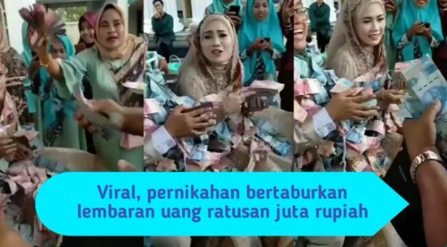Viral, Pengantin Ini Berpakaian Penuh Uang Ratusan Juta, Yang Ngawer Sultan Semua!