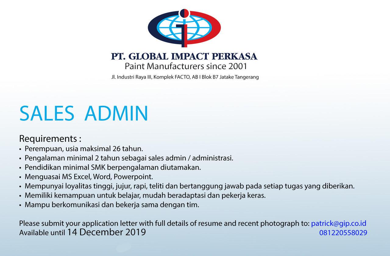[Jatake, Tangerang] Lowongan Admin Sales