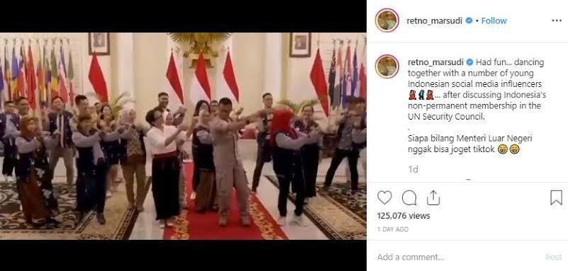 Menlu Retno Goyang Tiktok, Mantul...