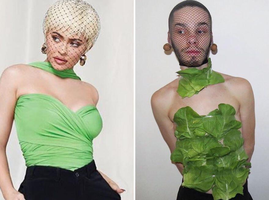 20 Kreasi Kocak & Unik Dari Seorang Pria yang Menirukan Outfit Selebriti Dunia