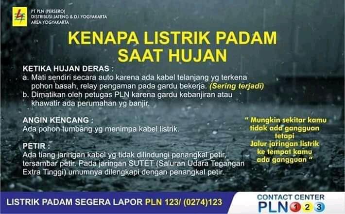 Terungkap, Ternyata Ini Alasan nya Kena LIstrik Suka Padam Saat Hujan