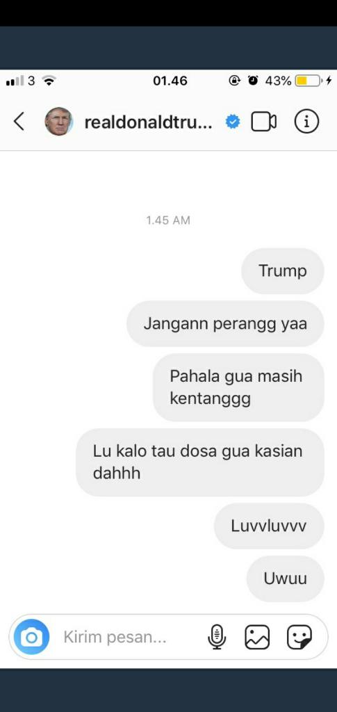 10 DM Terngakak Netizen +62 yang Menyerbu IG Trump Karena Takut Perang Dunia 3