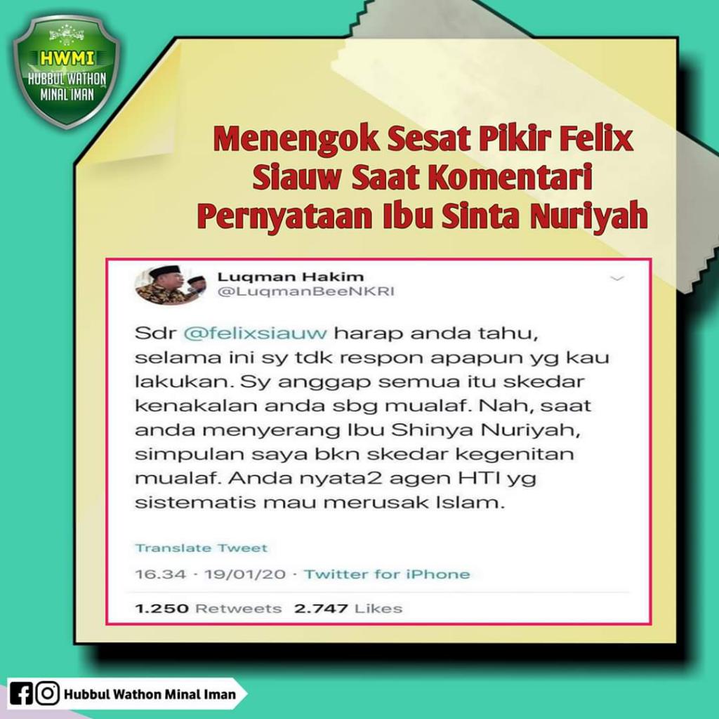 Felix dituduh 'Ulama' Kriminal Agen HTI Perusak Islam