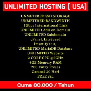 Promo HOSTING Unlimited 80.000/Tahun SERVER USA Batle METAL