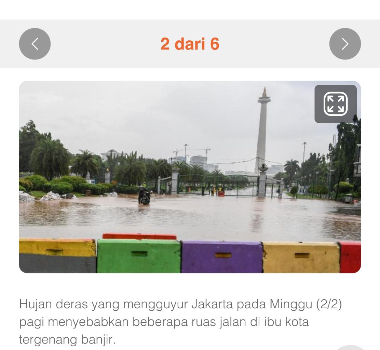 Banjir di Ruas Jalan Istana Negara 50 cm, Kawasan Monas Banjir, Lalu Lintas Dialihkan