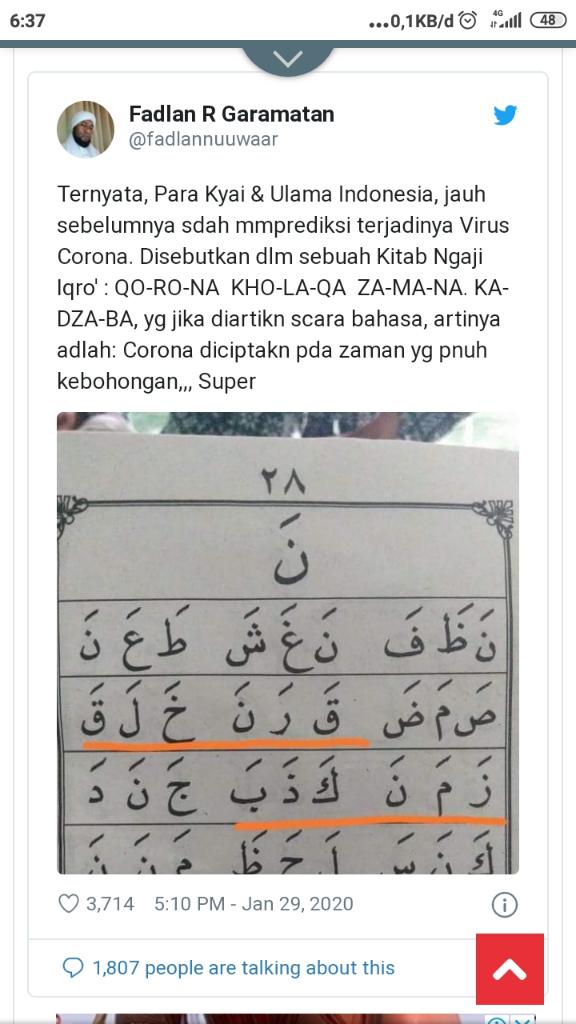 Korona di Buku Iqro' Jilid 1