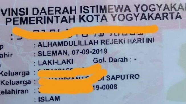 Viral Nama Bayi Alhamdulillah Rejeki Hari Ini, Netizen Bingung Panggilannya