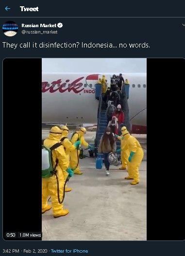 Cara Indonesia Semprot Disinfektan WNI dari Wuhan jadi Sorotan Dunia