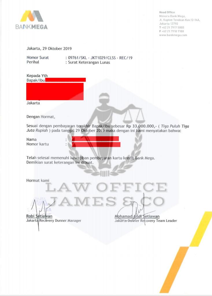 Jasa Penutupan Kartu Kredit ( LAW OFFICE JAMES & CO )