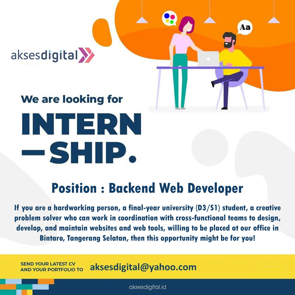(Bintaro, Tangerang Selatan) Need Back-End & Web Developer