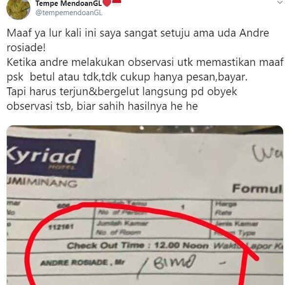 Ada Nama Andre Rosiade di Struk Kamar Hotel Tempat PSK NN Digerebek