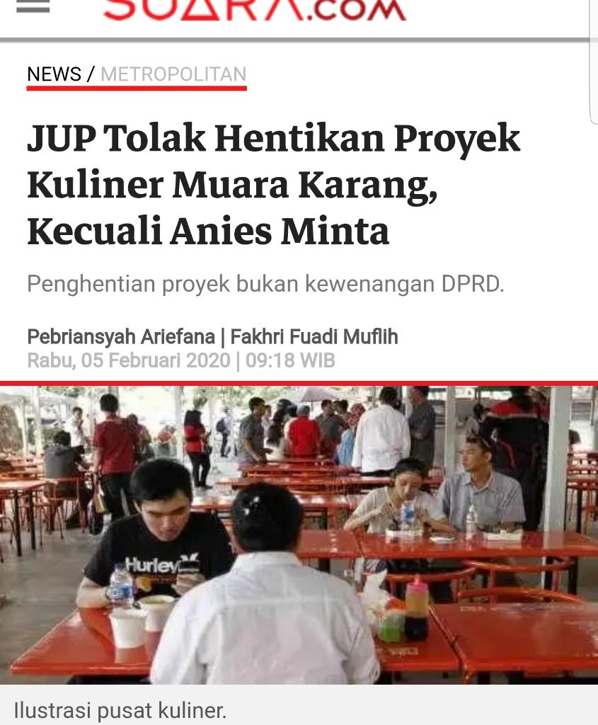 Anies Diminta Tak 'Buang Badan' Soal RTH Diubah Jadi Bangunan 2 Lantai Sentra Kuliner