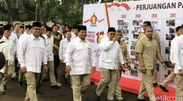 Didampingi Anies-Sandi, Prabowo Hadiri HUT Ke-12 Partai Gerindra