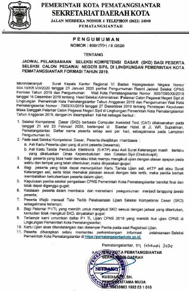 Jadwal & Lokasi SKD CPNS Dilingkungan Pemerintah Kota Siantar Tahun 2020
