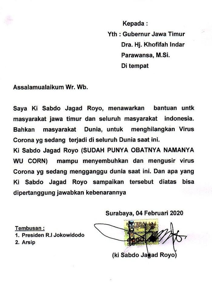 Kirim Surat ke Gubnur Jawa Timur, Paranormal Ini Klaim Bisa Sembuhkan Corona