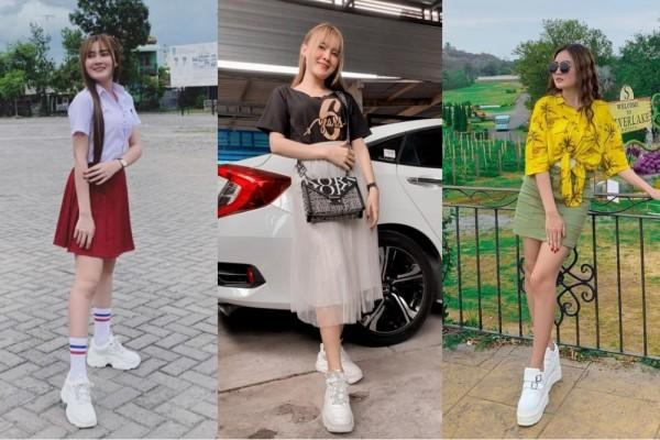 10 Inspirasi OOTD Simpel Pakai Sepatu Putih ala Nella Kharisma