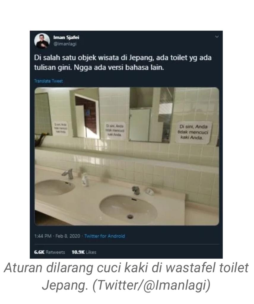 Pakai Bahasa Indonesia, Larangan Cuci Kaki di Toilet Jepang Ini Bikin Malu