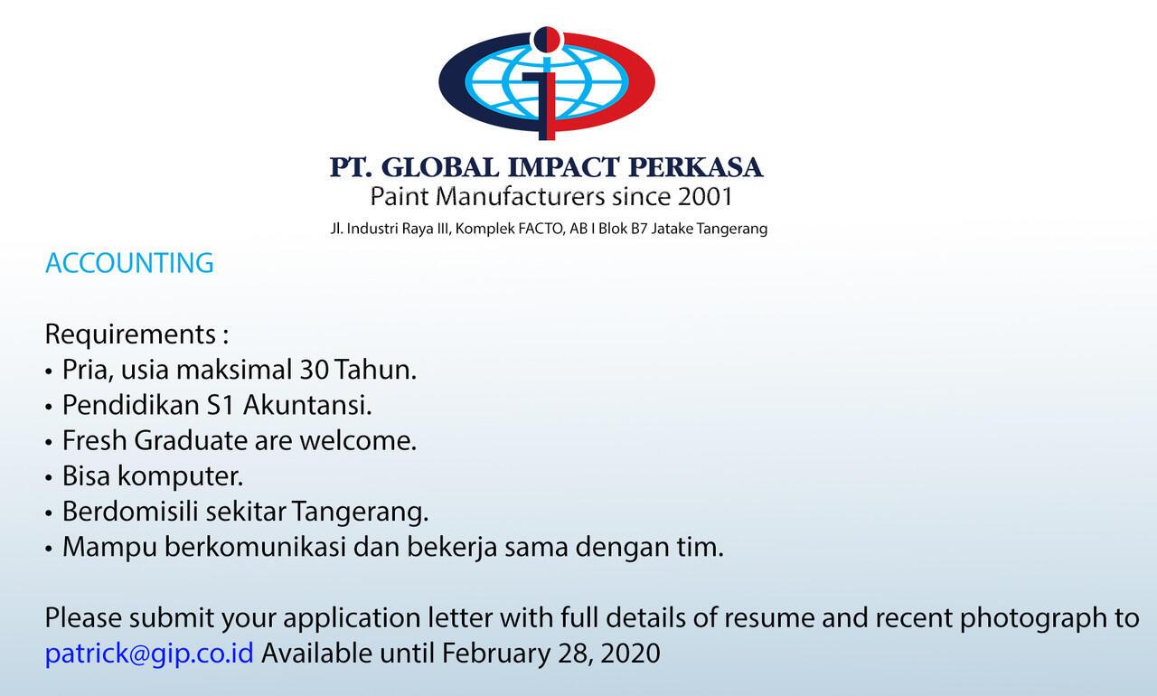 [Jatake, Tangerang] Lowongan Accounting