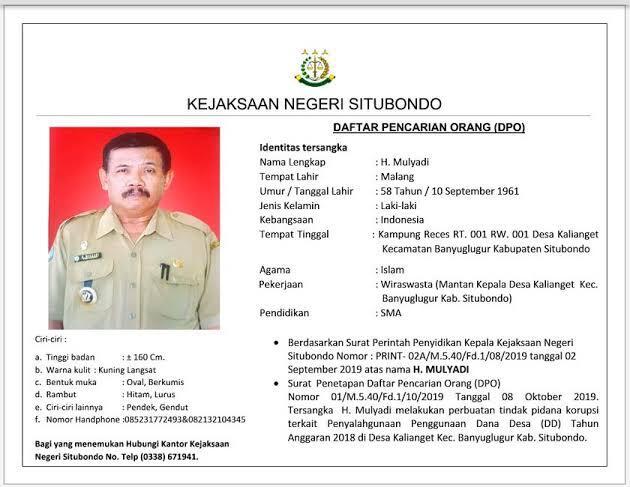 Buronan Mantan Kades Kasus Korupsi DD, DPO Kejaksaan Negeri Situbondo Tertangkap.