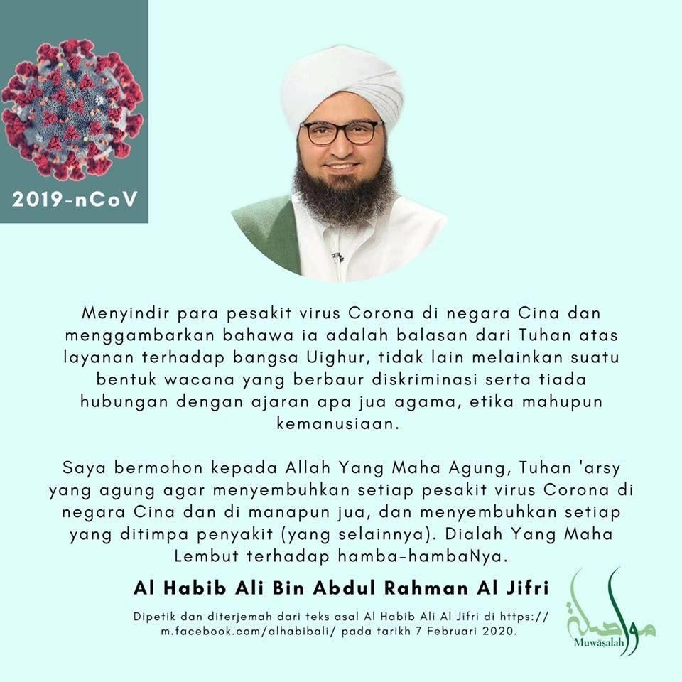 Teguran Cucu Nabi Muhammad ke Muslim yang Sebut Virus Corona Azab China