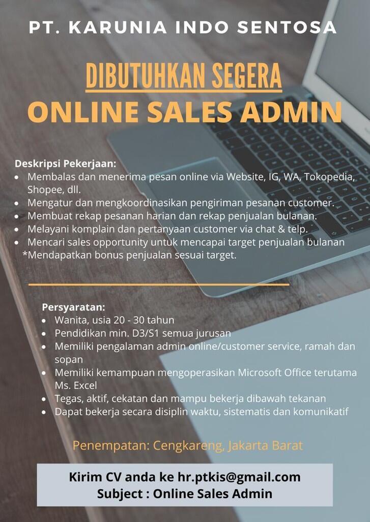 Lowongan Kerja Online Admin Sales