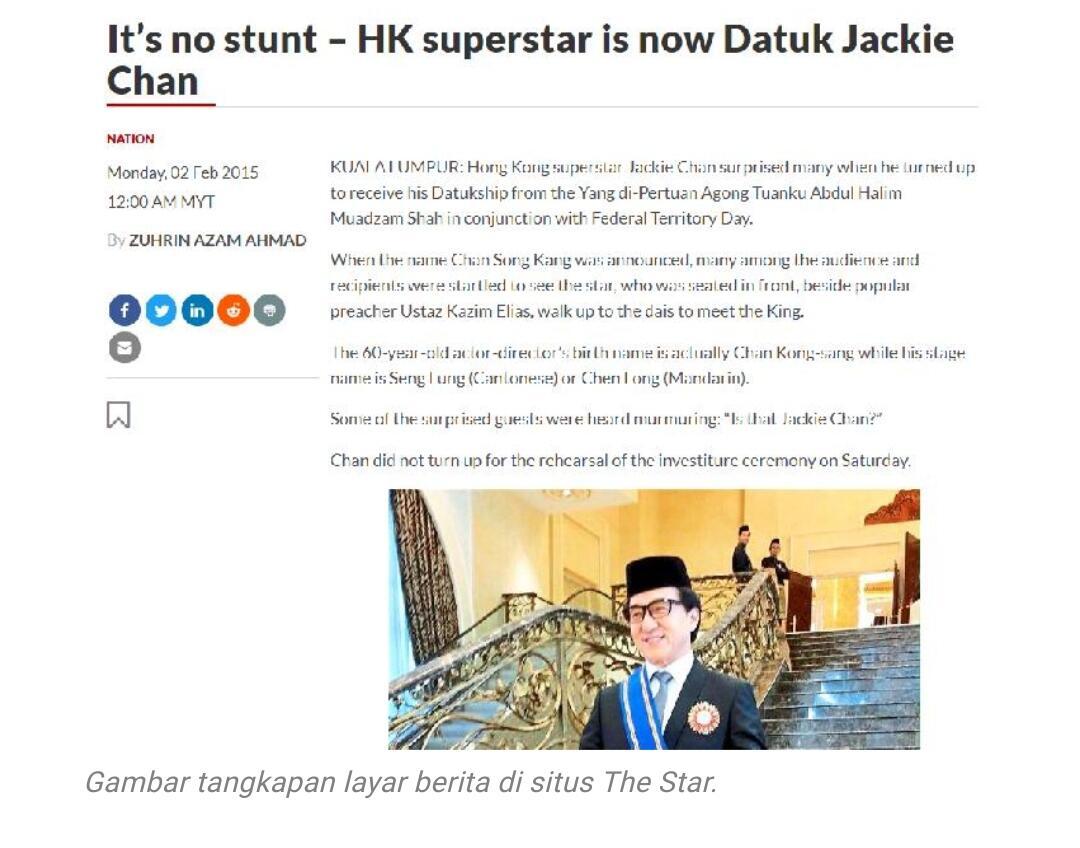 [Fakta atau Hoaks] Benarkah Jackie Chan Telah Resmi Masuk Islam?