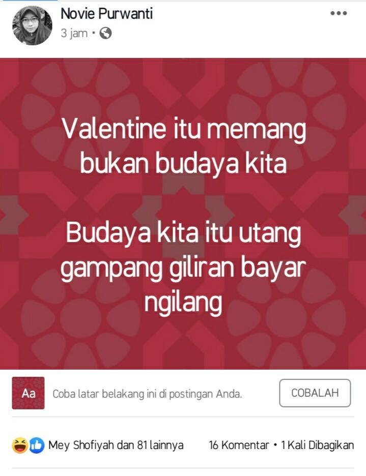 Beragam Postingan Valentine Day Bukan Budaya Kita Oleh Netizen +62! Kepoin, Guys!