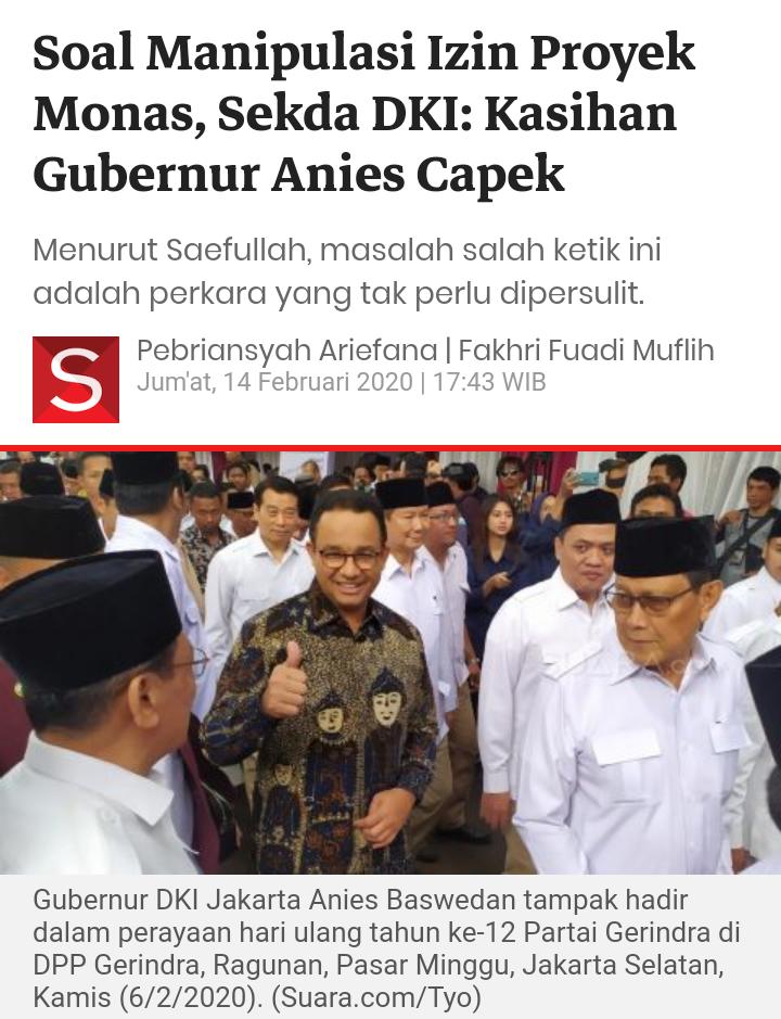 Soal Manipulasi Izin Proyek Monas, Sekda DKI: Kasihan Gubernur Anies Capek
