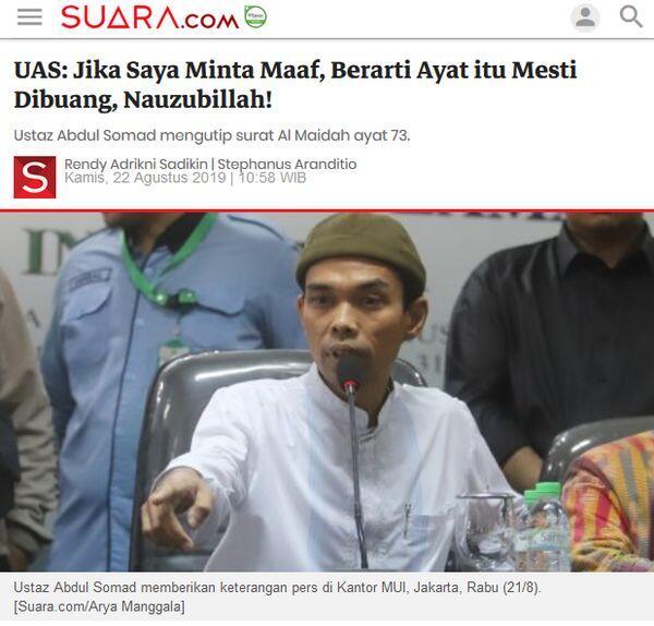 Ustaz Abdul Somad: Jika agama dihina wajib kita marah