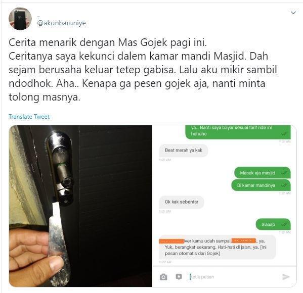 Terkunci di Kamar Mandi Masjid, Order Driver Ojol untuk Buka Pintu