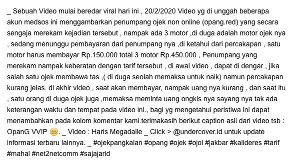 Ditangkap, Opang yang Viral 'Getok' Tarif Rp 250 Ribu di Tanjung Duren