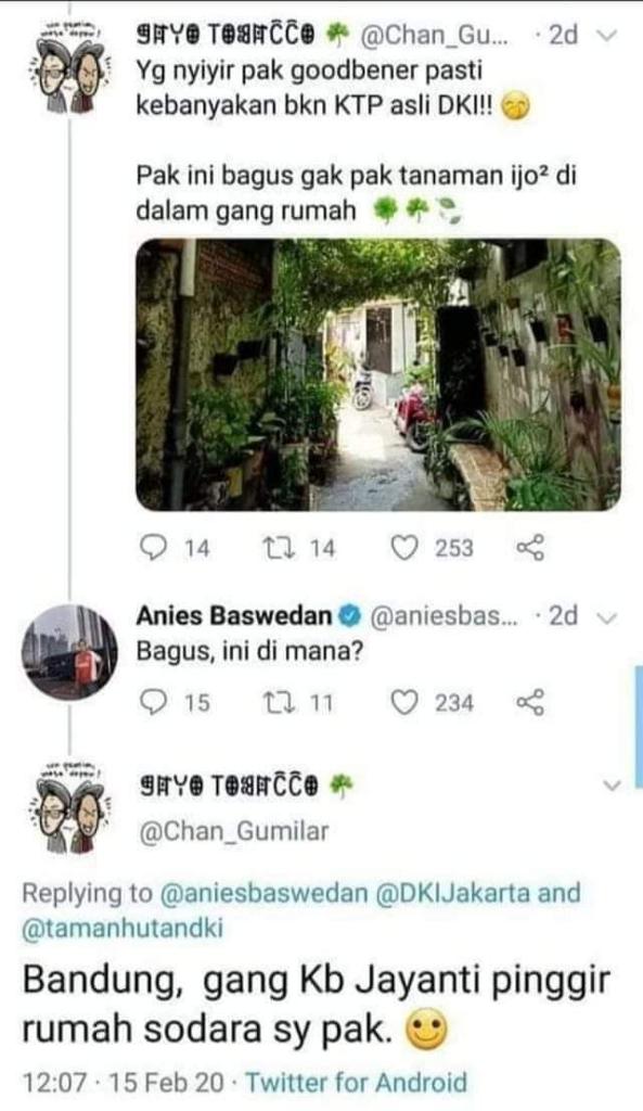 Anies Kena Prank Warganet, Puji Potret Gang Penuh Tanaman Ternyata Ada di Bandung