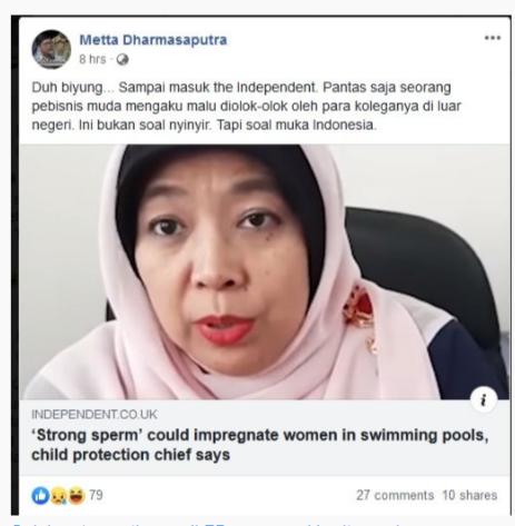 Pernyataan Perempuan Bisa Hamil di Kolam Renang Ikut Jadi Perhatian Media Intern