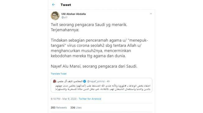 Ahli Hukum di Saudi Kritik Penceramah yang Sebut Virus Corona Tentara Allah