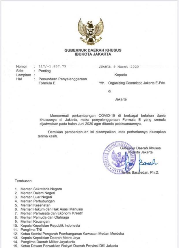 Cegah Penyebaran Corona, Balapan Formula E di Jakarta Resmi Ditunda
